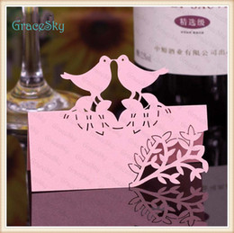 Wholesale Laser Cut Wedding Invitations China - 50X FreeShipping New Wedding Invitation Party Decorations Laser Cutting Place Seat Name Card Lovely Birds with Leaf Flower Paper Table Decor