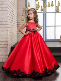 Wholesale Girl Dreses - Red Satin Black lace Ball Gown Flower Girl Dresses 2018 New Tank Long Communion Dresses with Belt Bow Kids Flowergirl Dreses