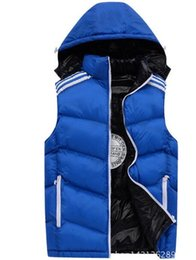 Wholesale Mens Vests Sale - AD Winter Mens Vests Coats Outerwear Cotton Padded Vests men Sport coat Hooded Padded Size XL-4XL 3 Colors 2017 Winter Wholesale sales