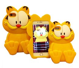 Wholesale Garfield Cartoon - 3D Cartoon Silicone Rubber Garfield Back Cover Case For iPhone 4 5 6 6S Plus Samsung S5 S6 Edge Grand Prime Core G530 G360 A5 A7 J1 ACE