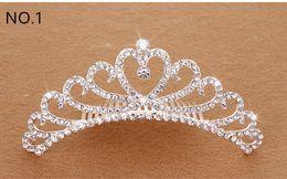 Wholesale Crown Pink Hair - Crystal Tiara Hair Band Kid Girl Bridal Princess Prom Crown Kid Girl Party Accessiories Bridal Princess Prom Crown Headband