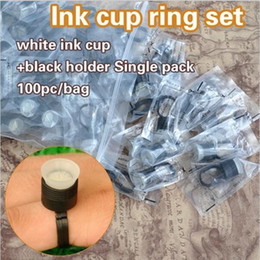 Wholesale Disposable Tattoo Caps - New Arrival 100PCS BAG Black with White Tattoo Permanent Makeup Disposable Finger Ring Ink Holders Caps Supply
