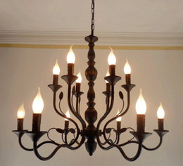 Wholesale Rustic Pendant Lighting - Luxury Rustic Wrought Iron Chandelier E14 Candle Black Vintage Antique Home Chandeliers For Living room European lamp LLFA