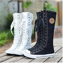 Wholesale Knee High Canvas Boots - 2014 New arrival lace-up knee high boots canvas boots women casual boots
