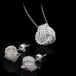 Wholesale Fancy Necklace Sets - Fancy 925 Silver Jewelry Sets Women Wedding Jewelry Set Necklace Earrings 925 Sterling Silver Bridal Jewelry Set