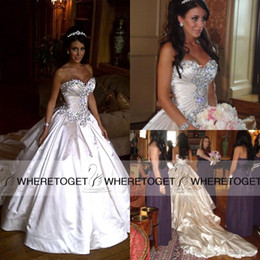Wholesale Sexy Ball Gown Pnina Tornai - Pnina Tornai Wedding Dresses 2015 Ball Gown Sweetheart Crystal Beaded Lace Up Cathedral Train Bridal Gowns Plus Size