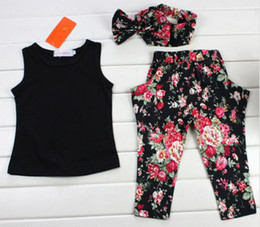 Wholesale Three Years Girls Clothes - NEW hot hiqh quality 2016 New Arrive Baby Girls Chothing Set Black T shirt+Flowers pants Set fashion summer kids clothes suit 2~8 year