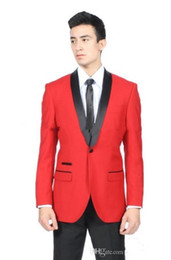 Wholesale mens wedding suits red tie - Handsome Red Groom Tuxedos with Black Shawl Lapel Two Pieces Mens Suits Custom Made Groomsmen Wedding Suits ( Jacket+Pants+Tie)