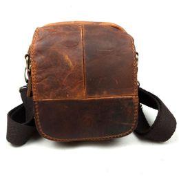 Wholesale Crazy Horse Cross Body Bag - Wholesale-Vintage Casual Genuine Leather Crazy Horse Leather Cowhide Men Waist Bag Waist Pack Small Shoulder Messenger Bag Bags For Men