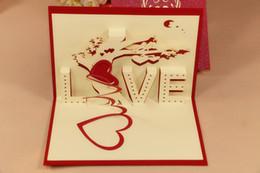 Wholesale Card Love Kirigami - 3D Love tree greeting card Wedding handmade Creative Kirigami & Origami 3D Pop UP Gift Cards Thank You Cards
