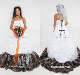 Wholesale Satin Corset Bodice Wedding Gown - Camo Ball Gown Wedding Dresses 2018 Strapless Appliques Satin Corset Lace Up Back Camouflage Bridal Wedding Gowns Forest Sweep Train