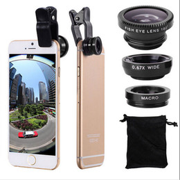 Wholesale Mobile Camera Kit - Universal 3 In 1 Fish Eye Lens +Wide Angle +Macro Camera Clip-on Lens Kit for iPhone 6  Plus 5S 5 Samsung Smart Mobile Phones
