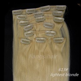 "Wholesale 26 Remy Human Hair Clip - 18""-26"" 80g 100g 120g 8pcs 613# Lightest Blonde Clip in Hair Straight Brazilian Indian Peruvian Malaysian 7A Remy Human Hair Extensions"