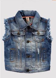 Wholesale Baby Cowboy Vest - Wholesale-New boy vest cowboy denim vest baby ropa casual clothes for children