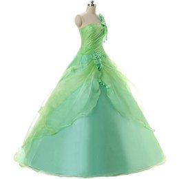 Wholesale One Shoulder Sweet Pleated Party - Fresh Mint Green Quinceanera Gowns Cheap One Shoulder Pleats Flowers Ruched Debutante Sweet 16 Girls Masquerade Party Prom Ball Gown