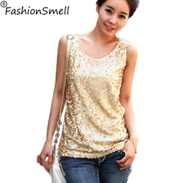 Wholesale Ladies Gold Sequin Shirt - Wholesale-Women Shiny Sequin Vest Bling Top Mesh Tank Sleeveless Blouse Lady T-Shirt Sexy Tee Casual golden blusas femininas Free Shipping