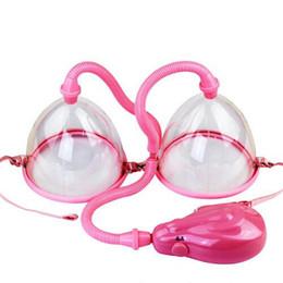 Wholesale Electric Breast Pump Enlarger - Electric Breast Enlarger Breast Enhancer Suction Pump Dual Cup Machine Enlargement Bust Massager Adult Sex Toys sex machine for women