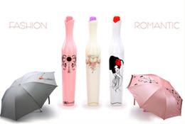 Wholesale Fabric Sun Shades - Creative Vase Bottle Umbrella Folding UV Sun Rain Portable Parasol Princess Design White Plastic Flower Bud Shaped Hard Case