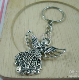 Wholesale Iron Sell - Hot sell ! 30pcs DIY Accessories Material Antique silver Zinc Alloy Angel Band Chain key Ring