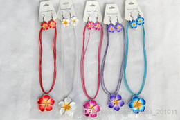 Wholesale American Polymers - FREE 12sets lot Handmade Polymer Clay FIMO flower Rhinestone Silk chain necklace+earrings New Sexy Fashion Women Jewelry nx0010