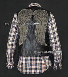 Wholesale Motorcycles Leather Vest - daryl dixon PU leather vest angel wings jacket Motorcycle vest