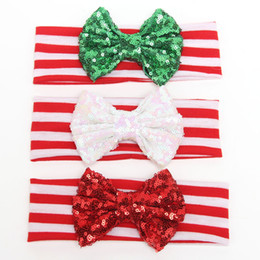 Wholesale Large Red Bows For Hair - New Christmas headband baby hair accessories headbands for girls Shiny sequins knot bow stripe cotton headband large bow headbands 3 colors