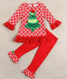 Wholesale Baby Clothes Tshirts - baby girls christmas sets children spring autumn clothes kids tree lace tshirts + ruffle pants baby boutique outfits infant clothing set 2pc