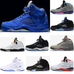 Wholesale Silver Ivory Shoes - 2018 cheap Air retro 5 men Basketball Shoes Red blue Suede Premium Bordeaux Black Olympic Gold Black Fire Red Sport sneakers size 41-47