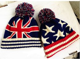 Wholesale Usa Flag Hats - Unisex Union Jack or Stars Stripes USA Flag Warm Winter Bobble Beanie UK Flag Skull Ski Pom Pom Hat Cap 10pcs lot Free shipping