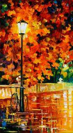 fahrrad malerei öl Rabatt Unframed Kostenloser Versand Drucken Russische Föderation Farbe Ölgemälde Straßenlaterne Brücke Fluss Fahrrad Waldweg Liebhaber Stuhl Haus Baum Regen