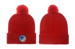 Wholesale Mishka Men Beanie - Mishka Beanie Hat With Pom Mishka Eyes Knit Beanies Hats Winter Skull Caps Men Women Winter Wool Cap