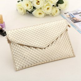 Wholesale Envelope Crossbody Purse - Day Clutch Women Leather Evening Tote Bags Handbag Change Purses Wallet Ladies Crossbody Messenger Shoulder Bag Golden