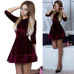 Wholesale Womens Brown Dress Xl - Womens Velvet Skater Dresses 2017 Female Party Cocktail Slim Short Mini Swing Winter Sexy Streetwear RF0582
