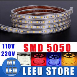 Wholesale Ac Wire Connector - SALE free cut 10M 20M 30M 50M 5050 SMD LED Strip Light Waterproof 60LED M 220V 110V white warm white blue green red Home Decora +Connector