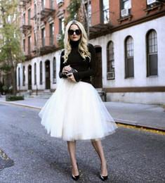 2019 alta falda de soplo de cintura Nuevo Puff Mujer Gasa Falda de tul Midi Lolita Faldas blancas Cintura alta Midi Longitud de la rodilla Gasa Talla grande Grunge Jupe Faldas tutú hembra rebajas alta falda de soplo de cintura
