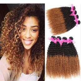 Wholesale Cheap Ombre Virgin Hair - #1b 30 hair weaving africa curl brazilian afro kinky curly 3pcs bundles unprocessed kinky curl human virgin hair weave ombre cheap Free ship