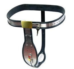 Wholesale Chastity Belts Plastic - New Men's Fully Adjustable Model-T Stainless Steel Enforcer Chastity Belt With Cock Cage Plastic Catheter Hot Sale