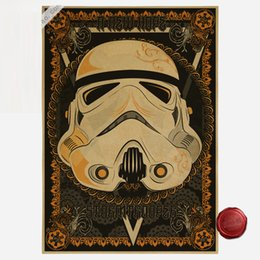 Wholesale Animals Wall Art Stickers - Vintage Darth Vader Cartoon Poster Star Wars Retro Art Wall Painting Party Home Decoration for kit Gift
