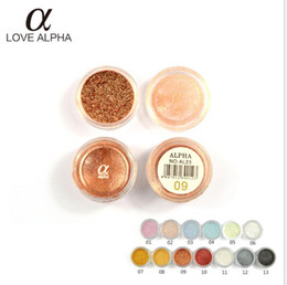 Wholesale Love Alpha Eyeshadow - Love Alpha Pearl eye shadow flash powder Glitter Eyeshadow Gel Shining 3D Eye Shadow for stage makeup AFFB5
