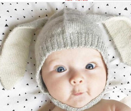 Wholesale Cute Boys Photos New - New Autumn Winter Unisex Kids Baby Girls & Boys Knitted Hat Cute Rabbit Long Ear Hat Baby Bonnet Photo Props fashion cap free shipping