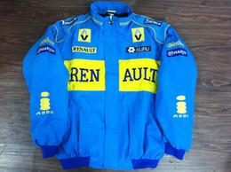 Wholesale F1 Blue - Embroidery LOGO FIA NASCAR IndyCar V8 Supercar Racing Jacket Renault F1 Racing Team Cotton Jacket A088