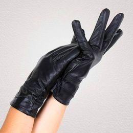 Wholesale Genuine Leather Gloves Wholesale - Wholesale-New 2015 Women Of 100 % Genuine Leather Sheepskin Gloves Fashion Printing Women's Mittens Autumn Winter Plus Velvet Warm Glove