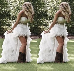 Wholesale Low Back Wedding Dress Beaded Chiffon - Summer Garden Beach High Low Wedding dresses With Crystal Beaded Sweetheart Bridal Gowns Low Back Ruffles Bling Wedding Gowns