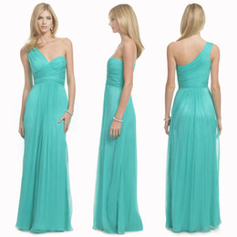 Wholesale Turquoise One Shoulder Bridesmaid Gowns - Cheap Long Turquoise Chiffon Beach Bridesmaid Dresses Formal One Shoulder Floor Length Wedding Party Gown Dress Custom Made