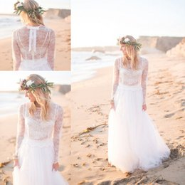 Wholesale Red Dinner Wedding Dress - Lace Tulle Bohemian Beach Wedding Dresses with Long Sleeve 2018 Sheer Neck Rehearsal Dinners Beach Party Holiday Wedding Gowns