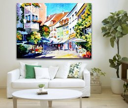 Wholesale Office City - Palette Knife Painting European Cities Charming Architecture Art Picture Printed On Canvas For Home Office Wall Decor
