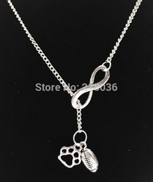 Wholesale Wholesale Vintage Sweaters - 10PCS Vintage Silver Infinity Bulldog Paw Print Football Charms Choker Sweater Chain Couple Necklaces&Pendants Jewelry DIY L427