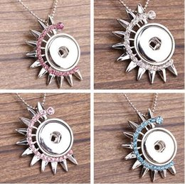 fuchsia necklace Promo Codes - Blue Pink Fuchsia White Gear Pattern DIY Alloy Button Pendant can change Different Snaps 10pcs lot