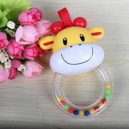 Wholesale Wholesale Elephant Plastic Toys - Wholesale- New Cartoon Elephant Cow Cute Baby Stop Crying Rattle Vocal Hand Bell Teether Infant Accessories Newborn Toys Christmas Gifts