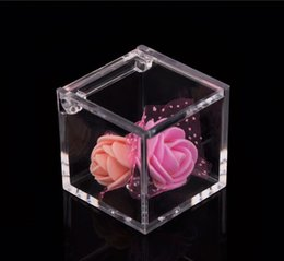 Wholesale Square Plastic Clear Box - Wedding Favor PS Environmental Flip Transparent Plastic Square Packing Box Candy Boxes 2 Sizes For U Pick